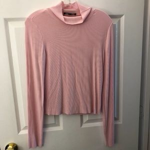 Sanctuary Long Sleeve Mock Neck Blush Pink Small